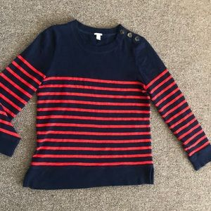 J CREW Navy BlueOrange sweater Striped 100%COTTON